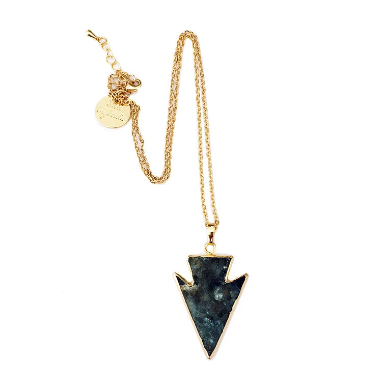 Glow labradorite crystal necklace arrow pendant layering necklace