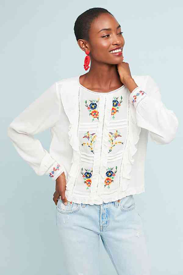 Serendipity Embroidered Blouse antrho peasant blouse