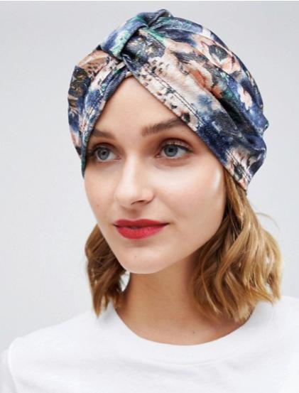ASOS DESIGN shimmer floral knot front hat