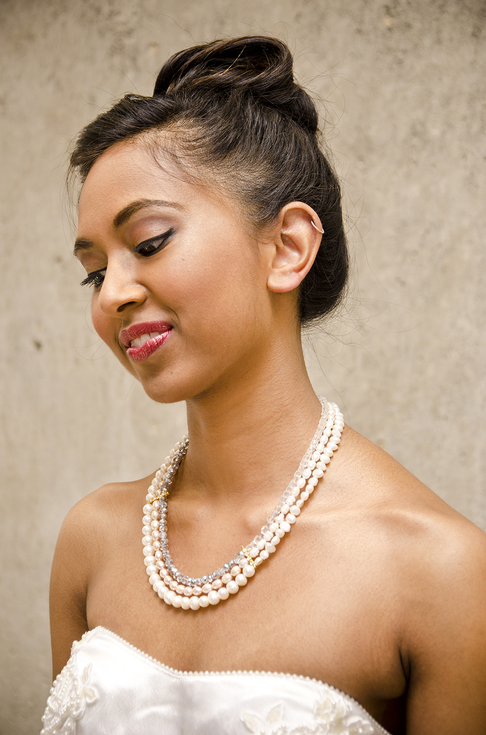 The Ivy, crystal and pearl trio strand necklace £89