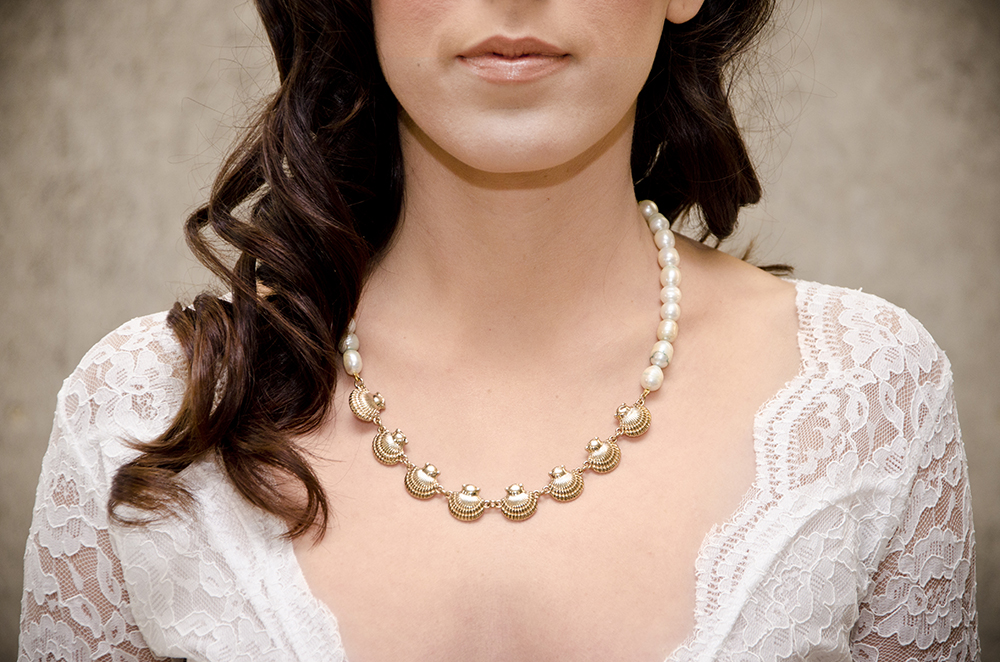 Vintage Shells, one of a kind freshwater pearl and vintage chain necklace