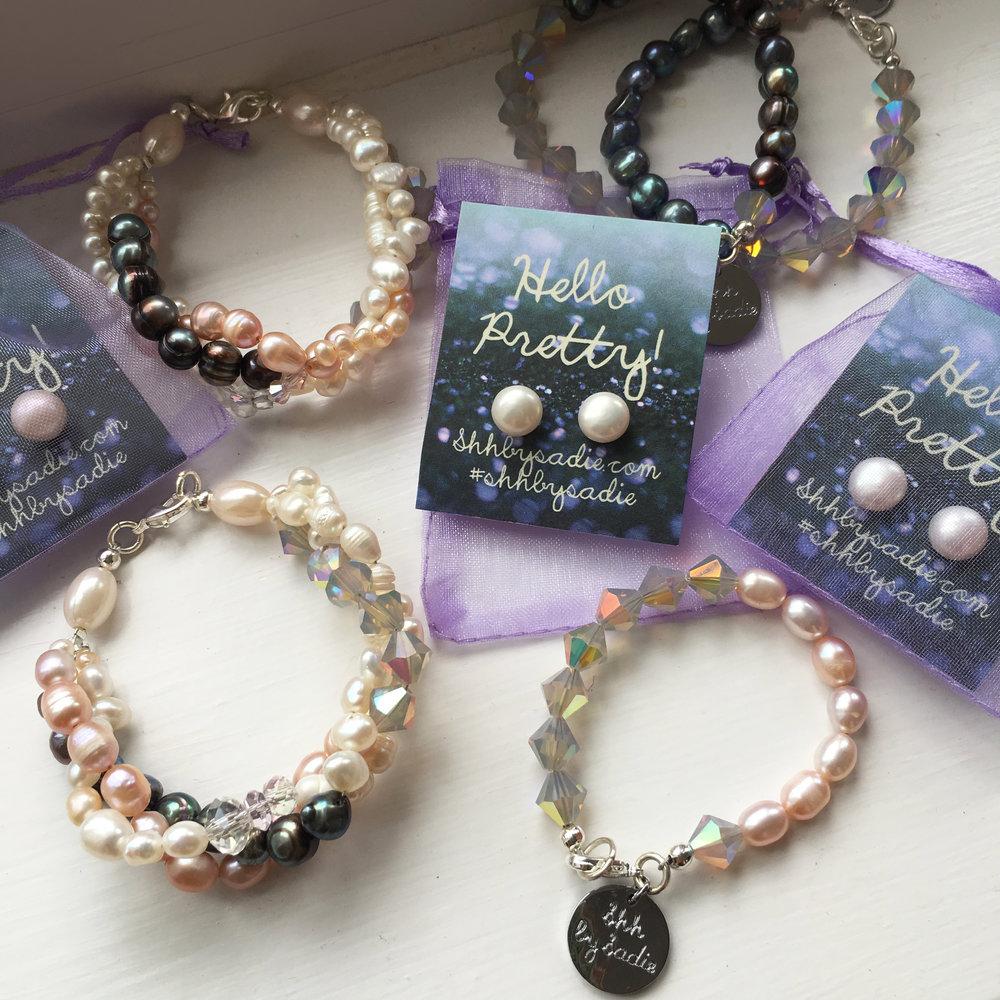 Pearl & Swarovski bracelets / sterling silver pearl studs, from £15