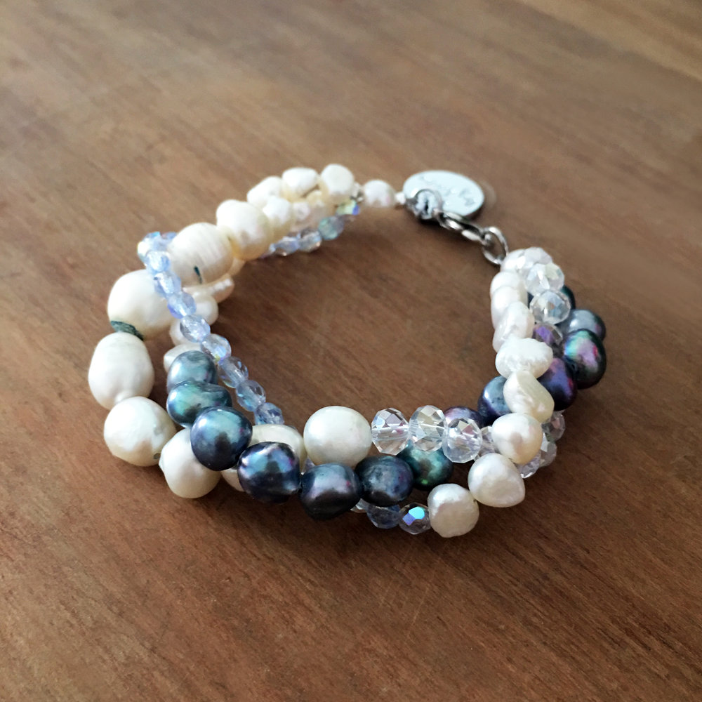 Twist bracelet, mixed freshwater pearls with crystals, from £39