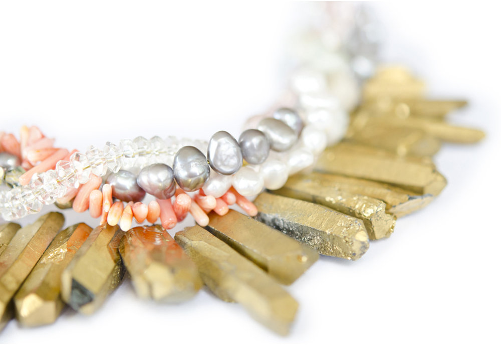 Worship Me, crystal quartz with a combination of crystals, pearls & semi precious gemstones £139