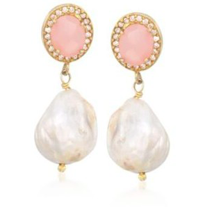 Baroque pearl and rose quartz bridal earrings