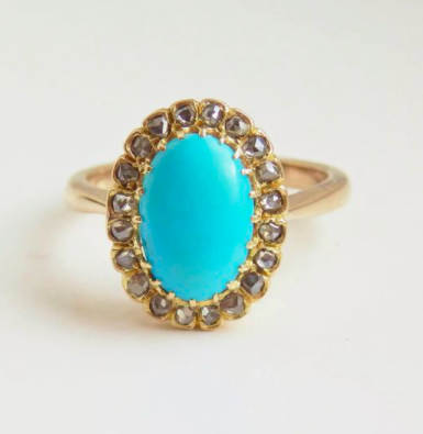 Antique Edwardian turquoise and diamond gold ring