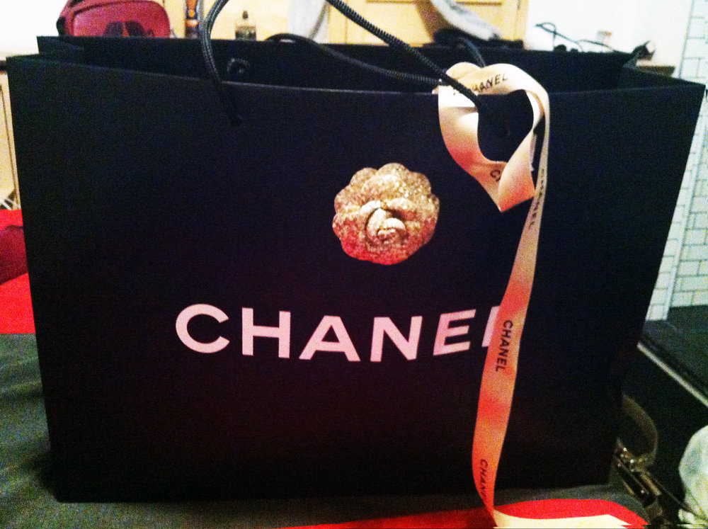 Chanel black bag with bow