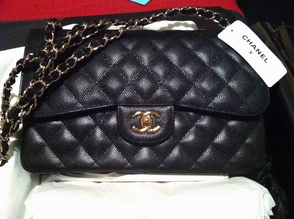Chanel black double flap classic Chanel caviar bag