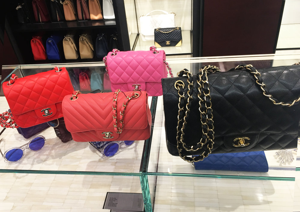 The orange square, the coral rectangle, the pink square + my first Chanel bag, Yorkie :-)