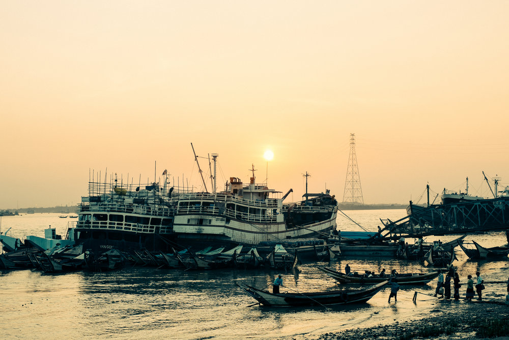 the yangon jetty at the sunset
