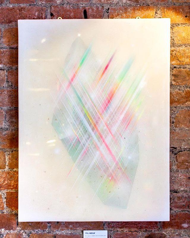 Still Hustlin.  Spray paint on wood and multiple layers of resin. ✨💎✨ #cheba #spraypaint #art #resin #diamond #crystal #graffiti #streetart #painting #gallery #hustlin