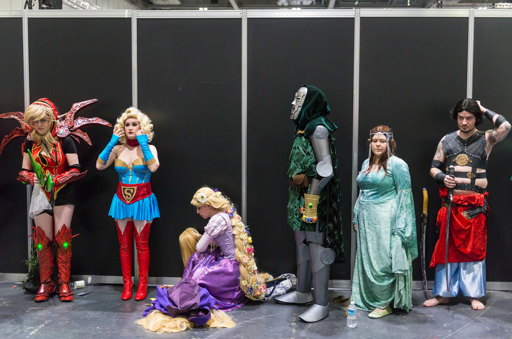 Cosplay finalist waiting to get on stage at the Superhero convention.