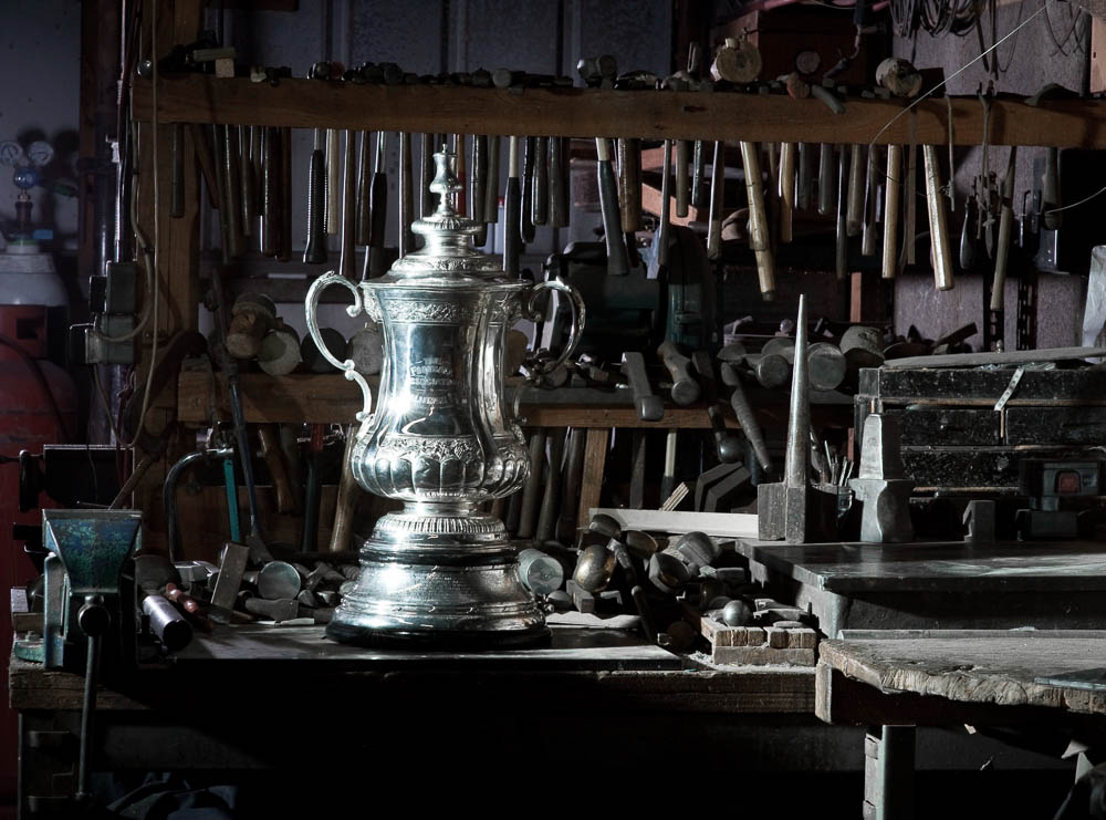 The FA cup is being restored and pollished up after its time at