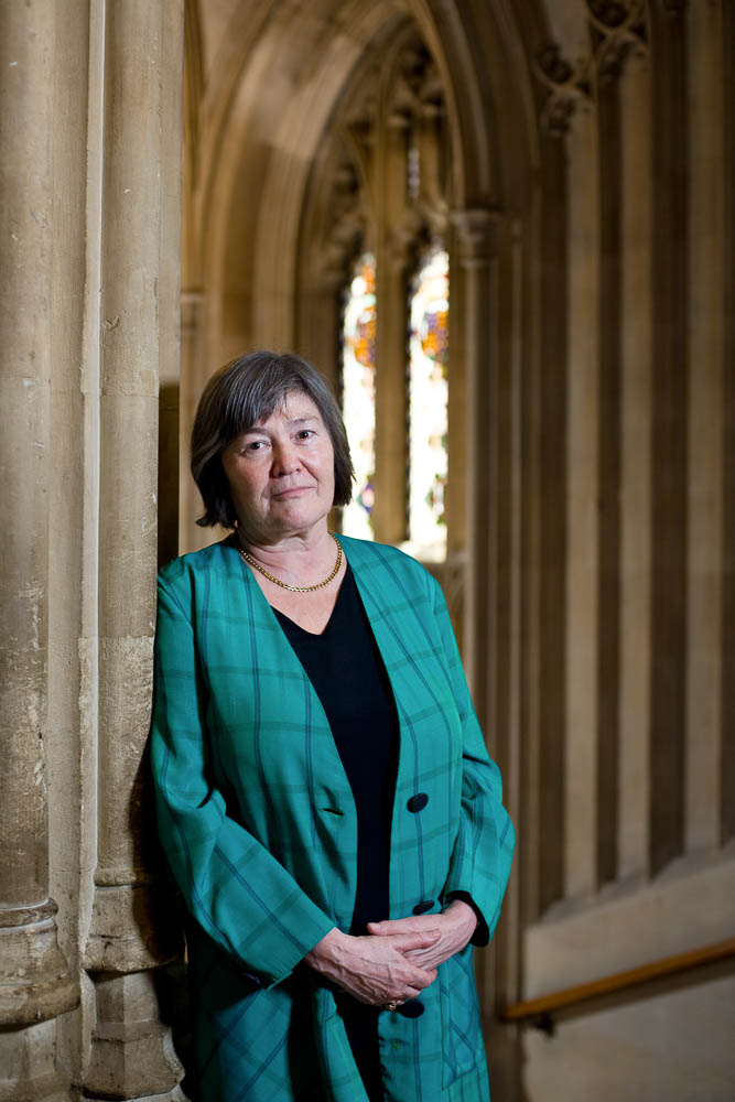 Clare Short MP, photographed in the house of Commons, on the stairs leading to the committee rooms.