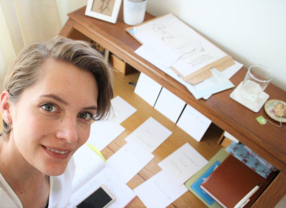 Ik gebruik mijn kaarten ook om te plannen. Hier was ik deze workshop aan het voorbereiden met kaarten voor wat extra guidance.