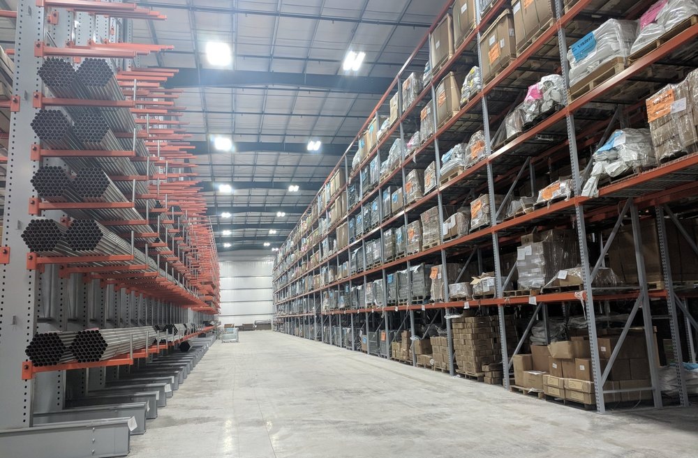 2018 - All warehousing and shipping were moved to the new Distribution Center located on our main campus. This 100,000 square foot facility handles all shipping and kitting, and is the main storage area for products ready to ship.