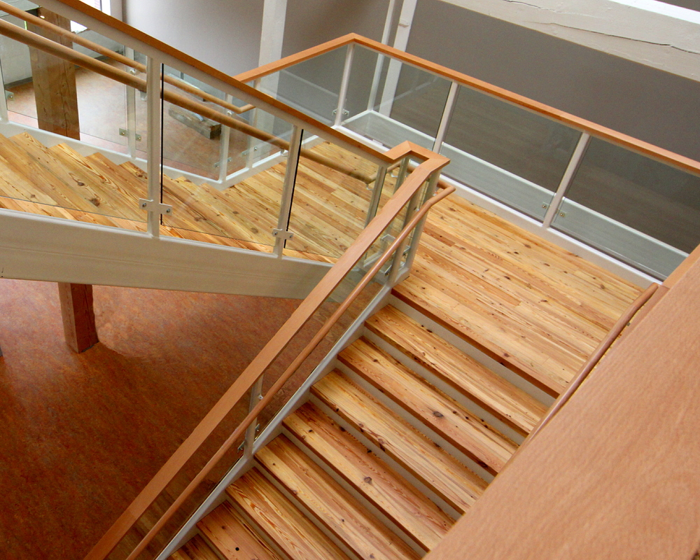Town Center stairs with reclaimed decking treads