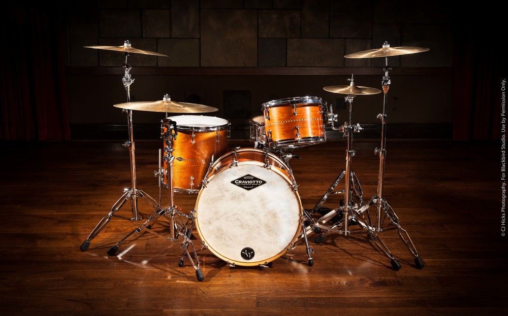 Our Craviotto Solid Shell Mahogany Kit. These drums are truly works of art. The sound is big and tight.We also have Maple and Walnut.  These kits are killer for studio or live.