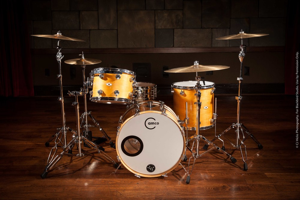 """Late 60's Camco Maple kit complemented with our Joyful Noise """"Blackbird Model"""" Snare.  Available with 9 x 13,10 x 14, Rack Toms. 16 x 16 Floor Tom. 14 x 22 Kick Drum."""