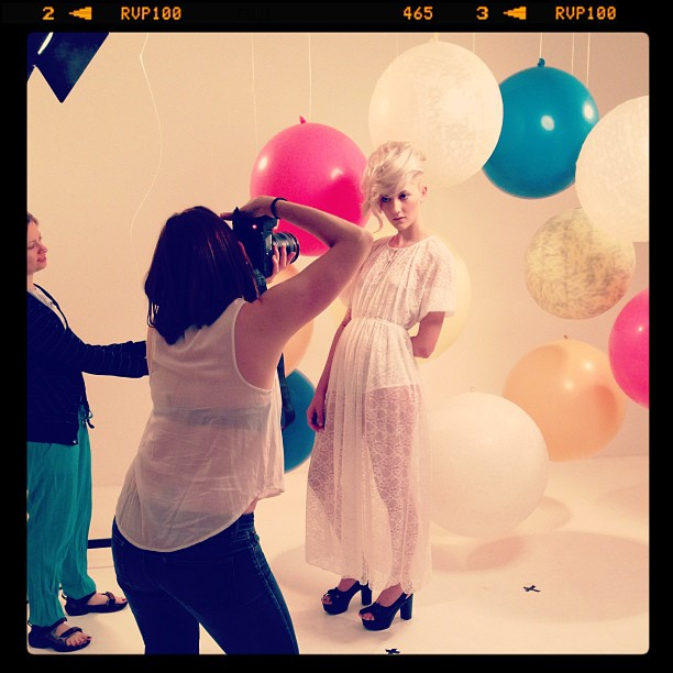 Me shooting Lucy from D1 models. #fashion #editorial #ballons #photography #studio #london