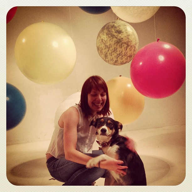 The best model if the day… Lana. #collies #dogs #fashion #london #editorial #ballons