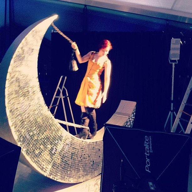 An amazing background set up, for a shoot the other night. #fashion #jewellery #london #moon #burlesque #photography