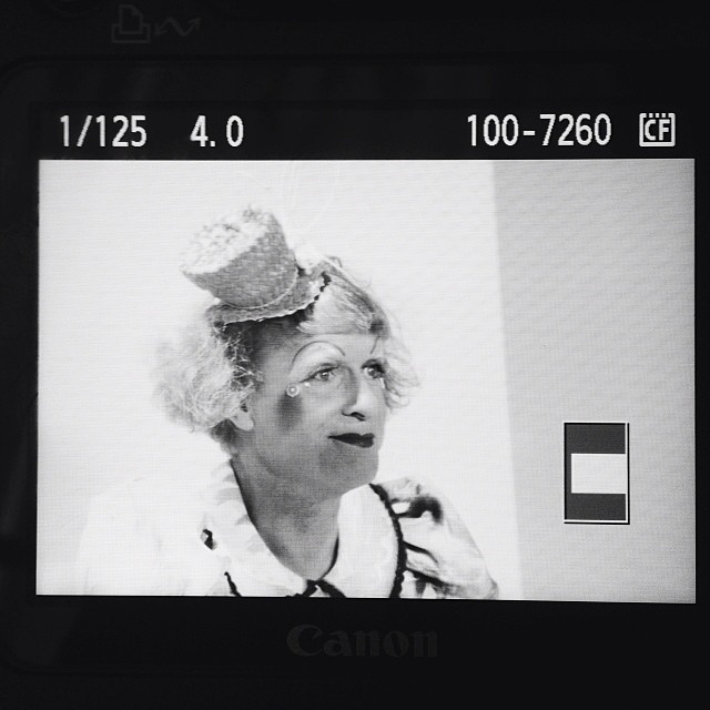 Grayson Perry today at The Vogue Festival 2014 - screen shots from my camera #graysonperry #voguefestival #fashion #artist #fashion #photography #maninadress #alter-ego #book-sing