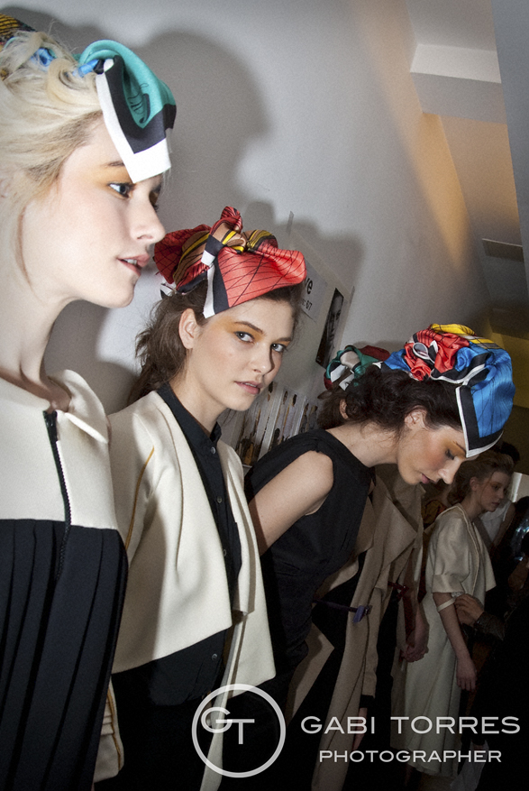 Back stage, Eun Jeong show at London Fashion Week 2011