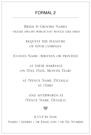 ditsy chic wedding invitation wording -Formal 2