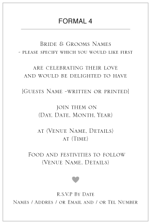 ditsy chic wedding invitation wording -Formal 4