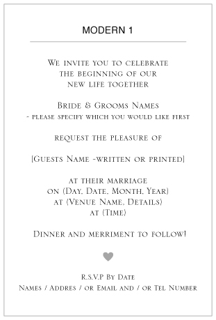 ditsy chic wedding invitation wording -Modern 1