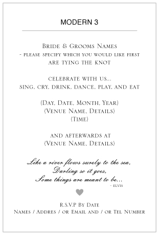 ditsy chic wedding invitation wording -Modern 3