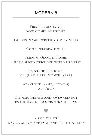 ditsy chic wedding invitation wording -Modern 6