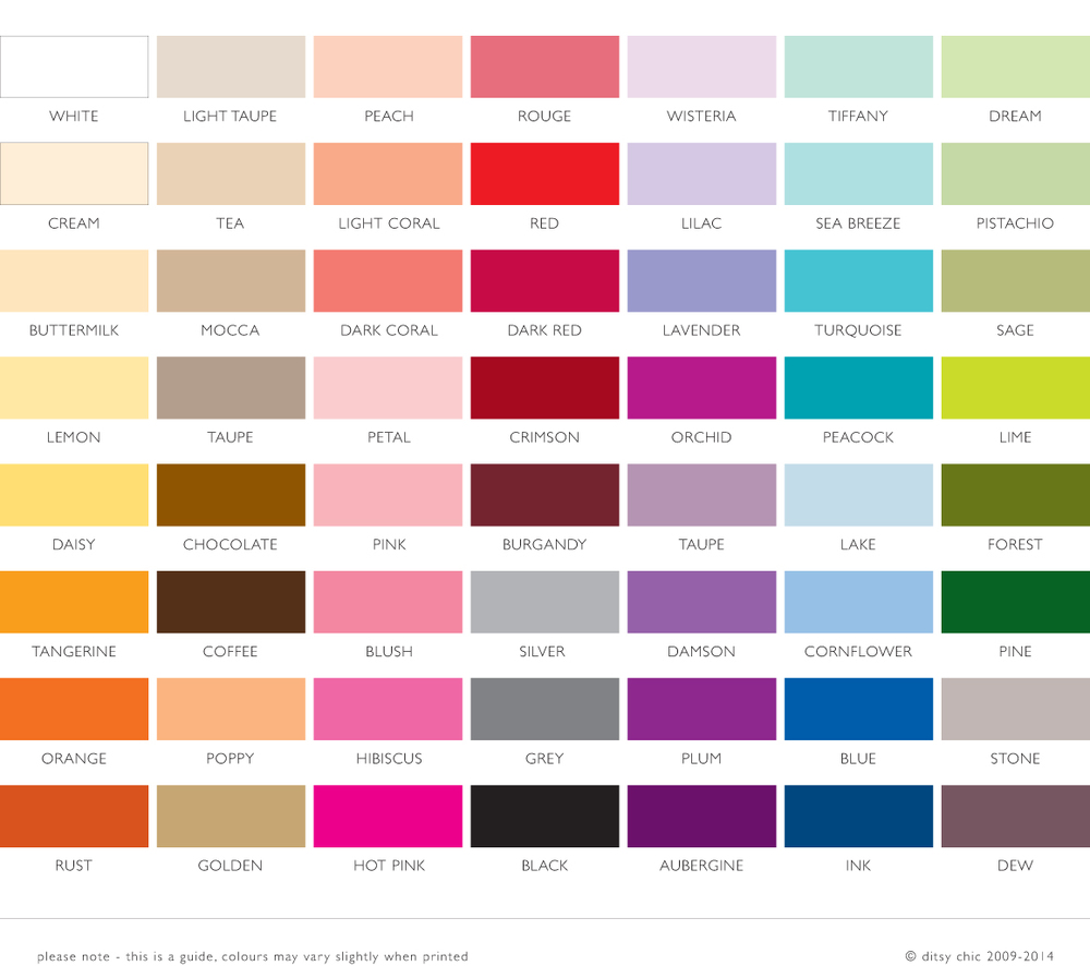 ditsy chic modern wedding stationery colour chart