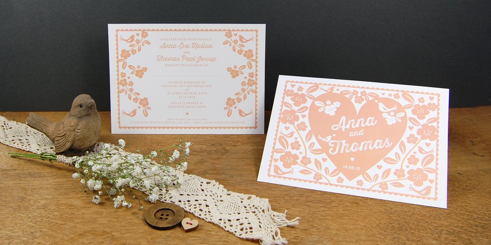 ditsy chic modern wedding stationery invitations