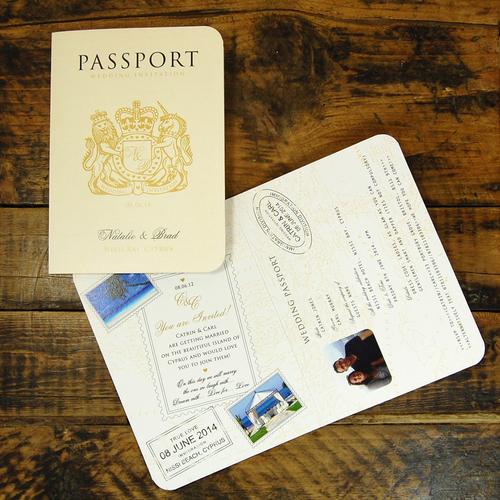 Passport To Love Card Wedding Invitation Ditsy Chic – Passport Wedding Invitation