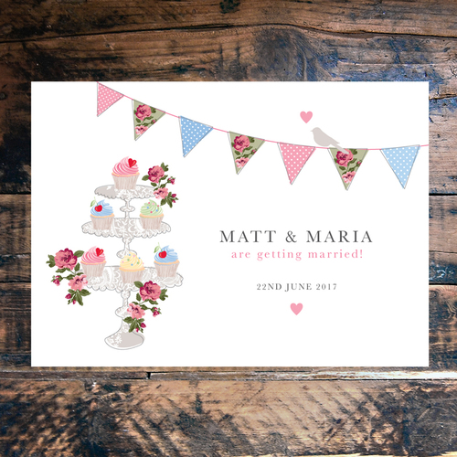 Vintage Fete Card Wedding Invitation Ditsy Chic