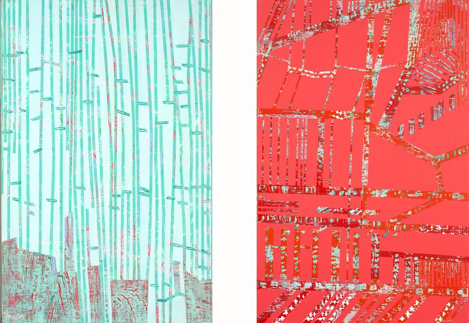 Roumaine bleu & rouge 100x65 cm, 2002
