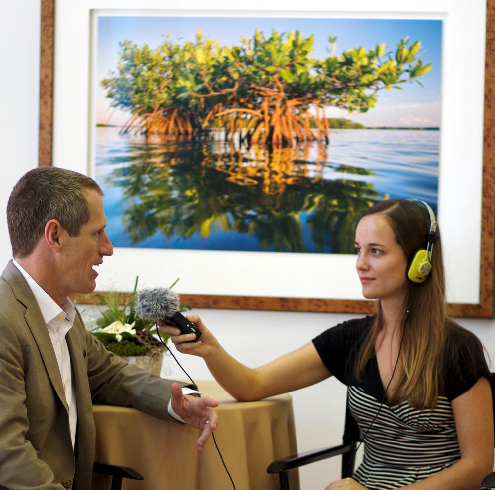 Anna Hamilton interviews Carlton Ward at The Gallery in St. Petersburg, FL. Photo courtesy of Alexandra Jane Photography.