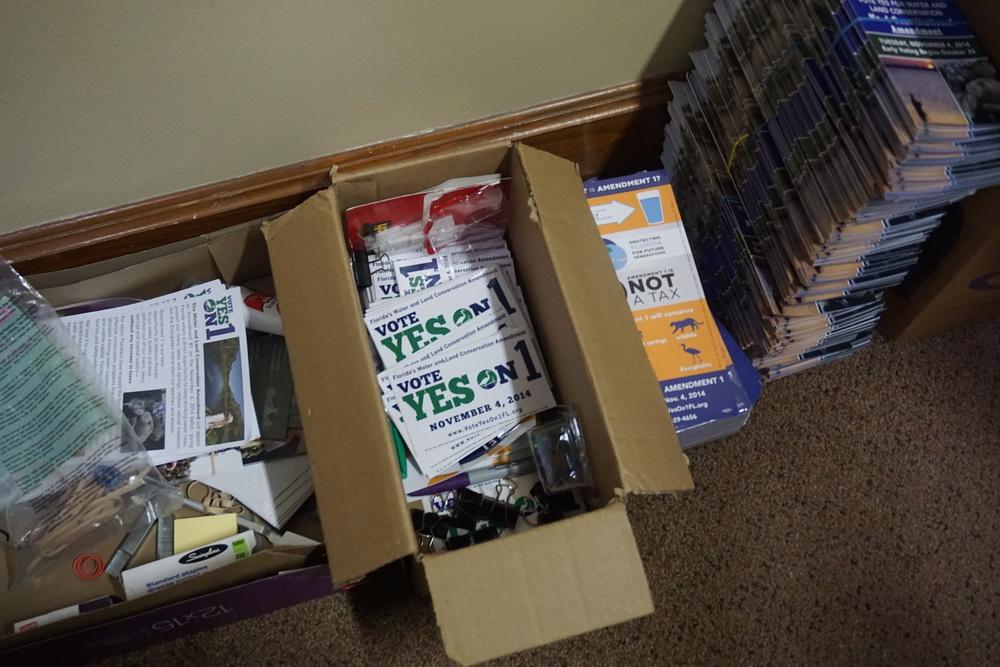 Amendment 1 campaign materials at Florida's Water and Land Legacy. Photo by Daniel Ward.