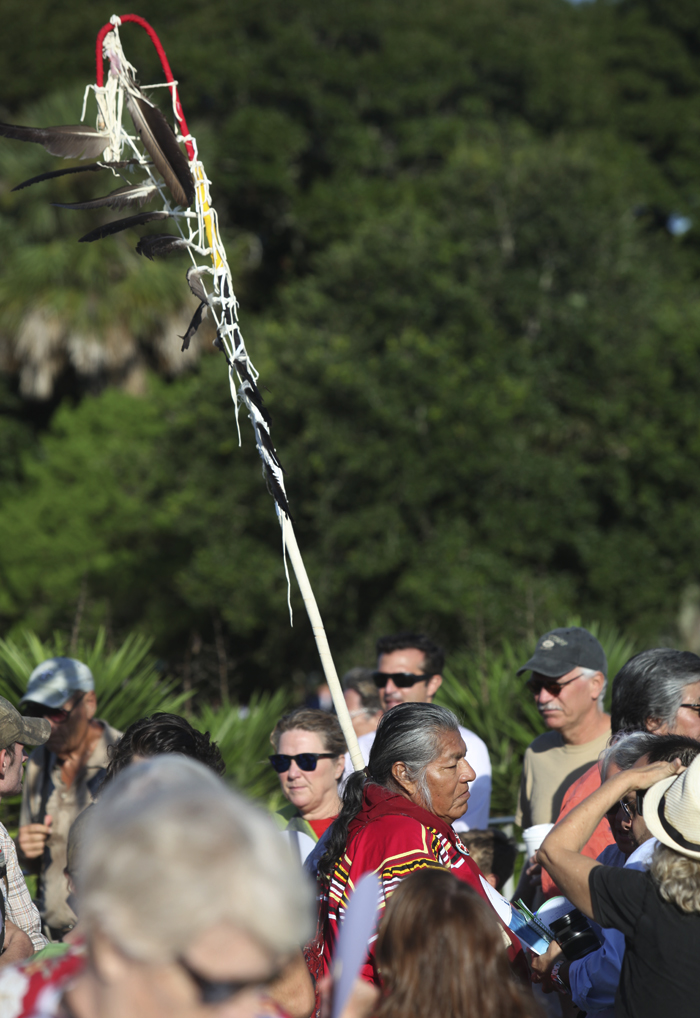 Billie stands with Resist 450 at St. Augustine's Mission Nombre de Dios.Photo courtesy of Walter Coker.