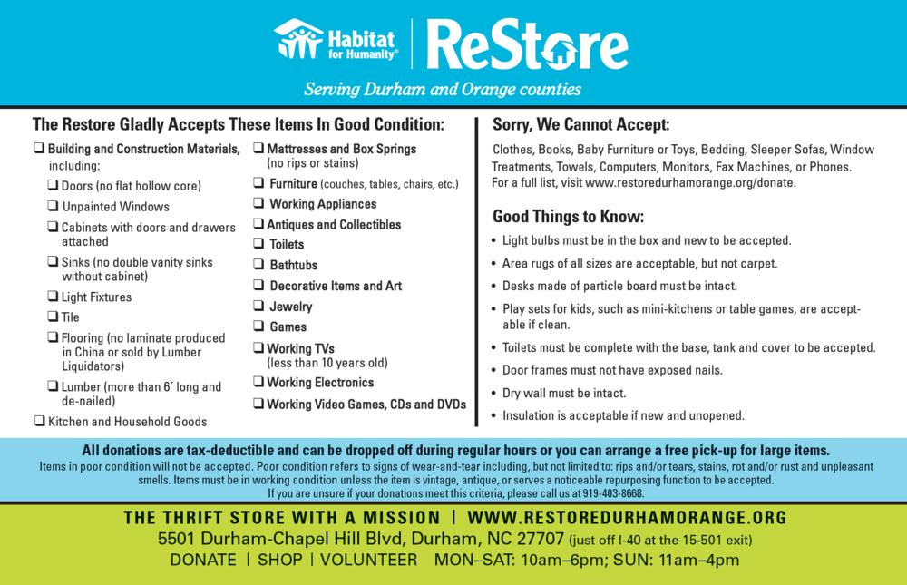 Habitat ReStore Donation Guidelines