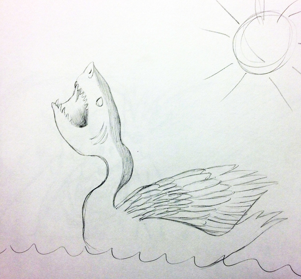 Prompt was a  hybrid animal .  Beware the ferocious shark swan!!!