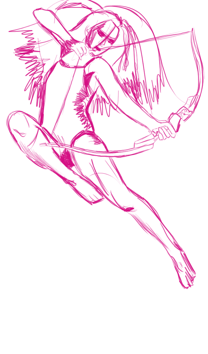 Prompt is a  superhero .  Look, a heroic Arrow Lady! Pink! More exploring digital stuff via tracing. As you can tell, there is a margin of error in the beginning.