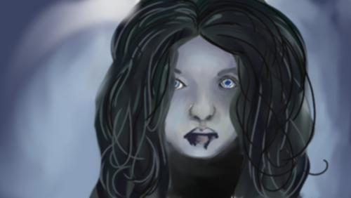 "Prompt: ""ZOMBIES!"" I thought I'd get all clever and draw the little wight girl from the beginning of Game of Thrones.  Corel ended up crashing on me, and this was the point I had saved at, so here we are."