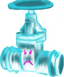"""So I swear Day 27 was a """"Sentimental Valve,"""" but halfway through the drawing I realized that it proooooobably said a """"Sentimental Value."""" I liked mine better. Here is a sad valve. Maybe it has seen too much Delta P."""