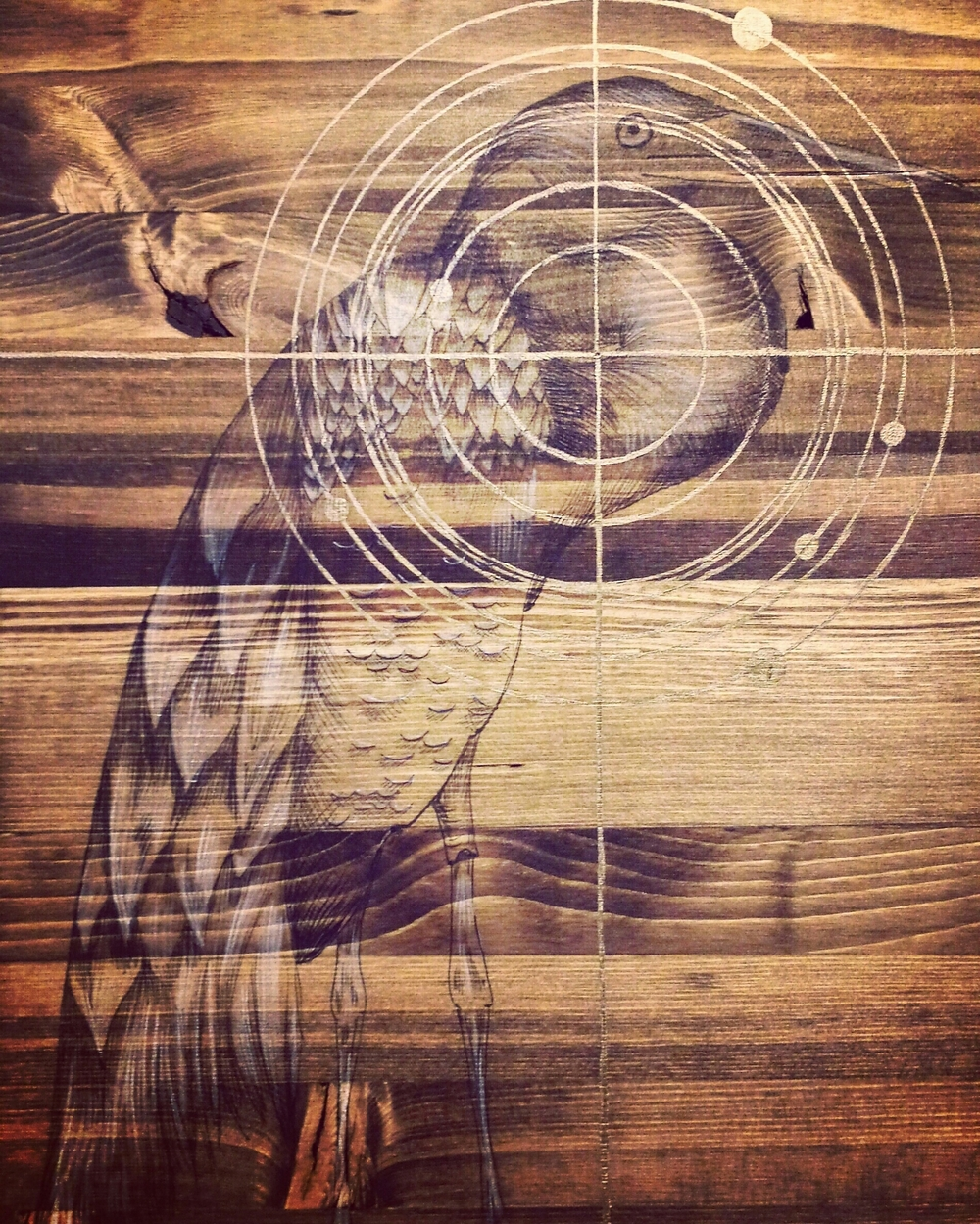 Ball point pen on wood with bronze acrylic paint and honey wood stain.