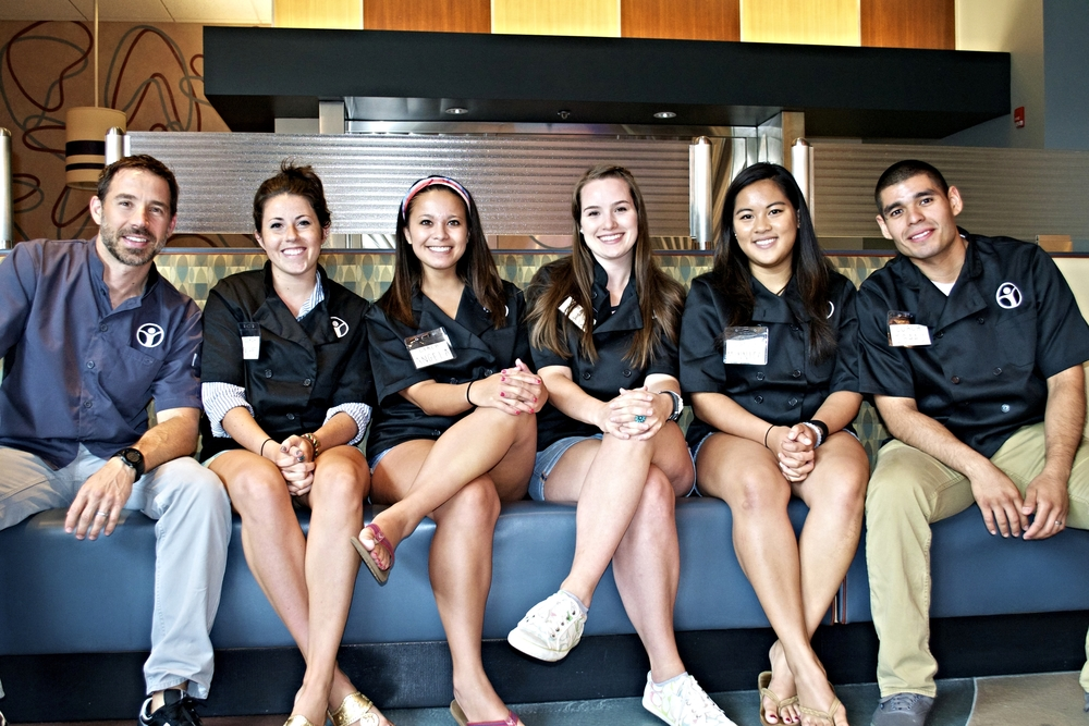 Restaurant / Cookbook Camp staff:  (Left to right) Ryan, Rachael, Angela, Liz, Monnica and Isaac.