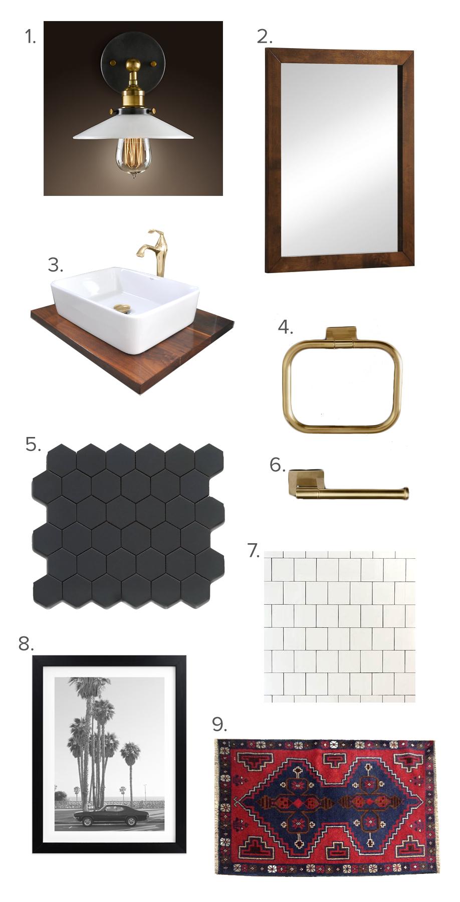 modern and minimal bathroom moodboard