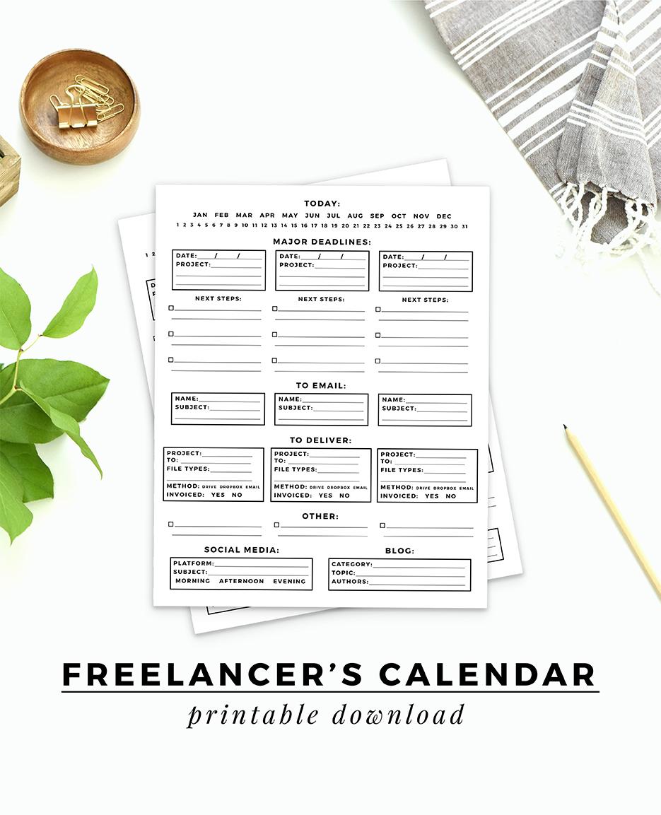 Freelancer's Calendar printable download